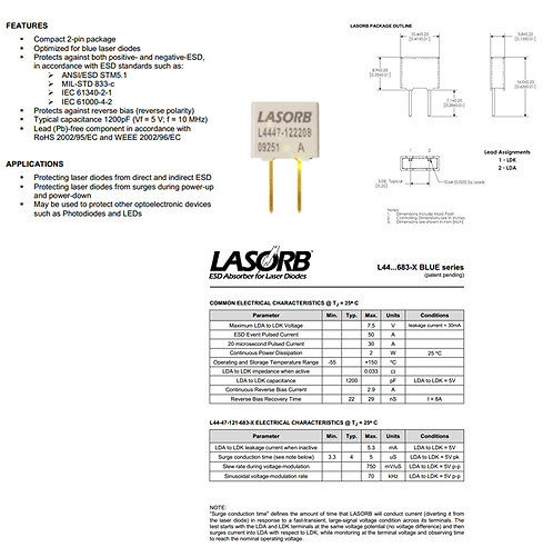 LASORB ESD protector for Blue laser diodes [AIX-PN-LORB-]
