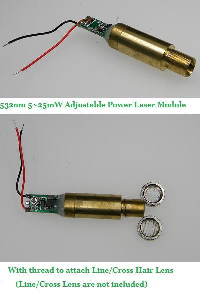 532nm 5~25mW Adjustable Power 3VDC Line/Cross Attachable [AD-532-25ADJ]