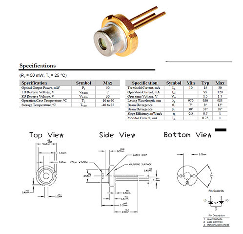 980nm 50mw laser diode TO-56 [AIX-980-50D]