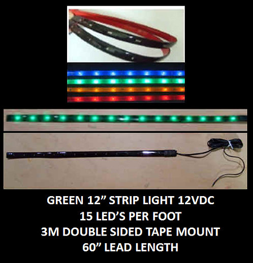 "Green LED strip light 12"" 15LED 60"" leads 12VDC [AIX-STR-G]"