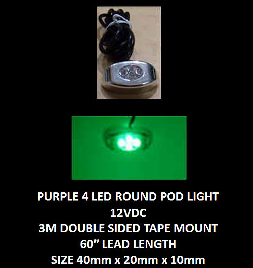 "Green LED 4 Pod LED light 60"" leads 12VDC [AIX-4POD-G]"