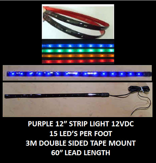 "Blue LED strip light 12"" 15LED 60"" leads 12VDC [AIX-STR-B]"