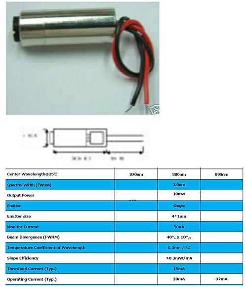 880nm 10mW laser OEM module 3.2VDC w/ adj. lens 880nm [AIX-880-10]