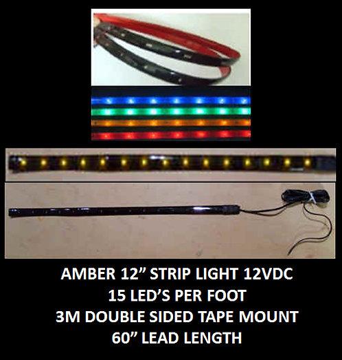 "Amber LED strip light 12"" 15LED 60"" leads 12VDC [AIX-STR-A]"