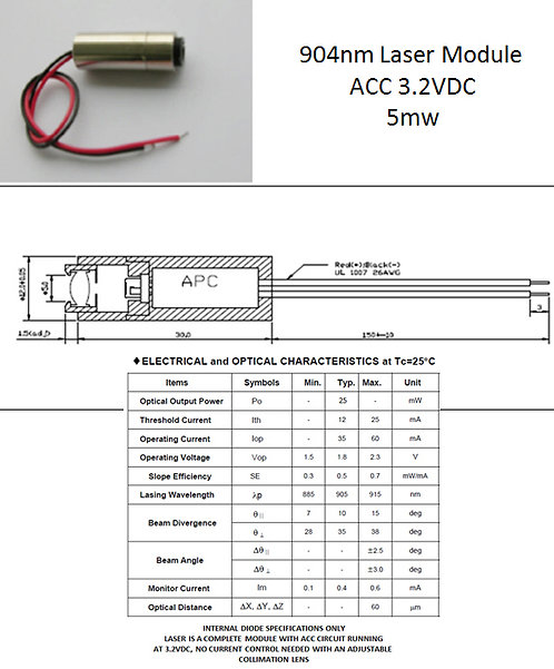 904nm 905nm 25mW laser module 3.2VDC w/ adj. lens [AIX-904-25]