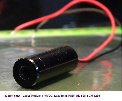 808nm 5mW Laser Module, 12x35mm [AD808-5-1235]