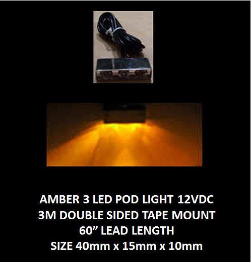 """Amber LED 3 Pod LED light 60"""" leads 12VDC [AIX-3POD-A]"""