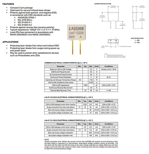 LASORB ESD protector for Red and IR laser diodes [AIX-PN-LORB-]