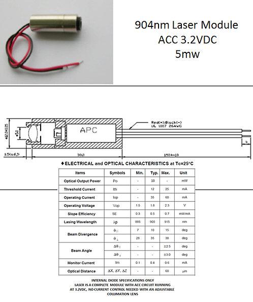 904nm 905nm 10mW laser module 3.2VDC w/ adj. lens [AIX-904-10]