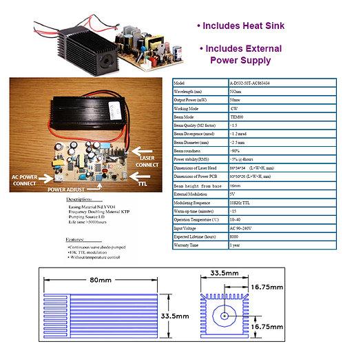 532nm 50mw TTL power adj. laser 90-240 VAC [AIX-532-50AC]
