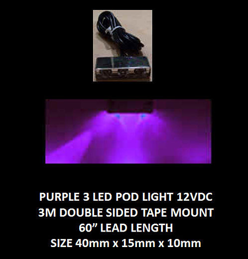 "Purple LED 3 Pod LED light 60"" leads 12VDC [AIX-3POD-PR]"