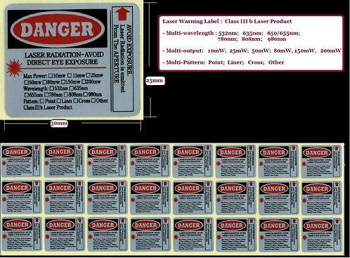 Laser Warning Label Multi-feature [AH-LBL-24M]