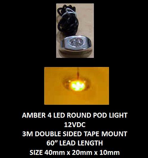 """Amber (yellow) LED 4 Pod LED light 60"""" leads 12VDC [AIX-4POD-A]"""