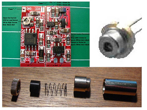 650nm 200mw laser driver, diode, glass lens and case kit