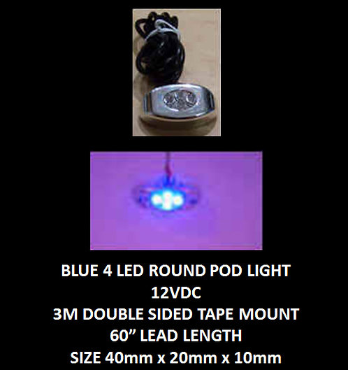 "Blue LED 4 Pod LED light 60"" leads 12VDC [AIX-4POD-B]"
