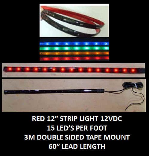 """Red LED strip light 12"""" 15LED 60"""" leads 12VDC [AIX-STR-R]"""