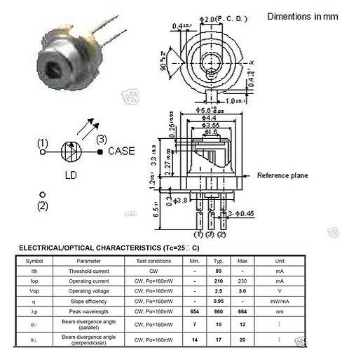 200mw laser diode 650nm Kip Kay project suitable [AIX-650-200D]