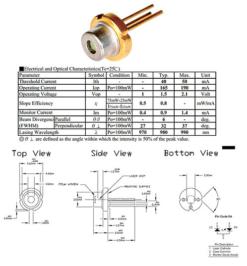 980nm 100mw laser diode TO-56 [AIX-980-50D]