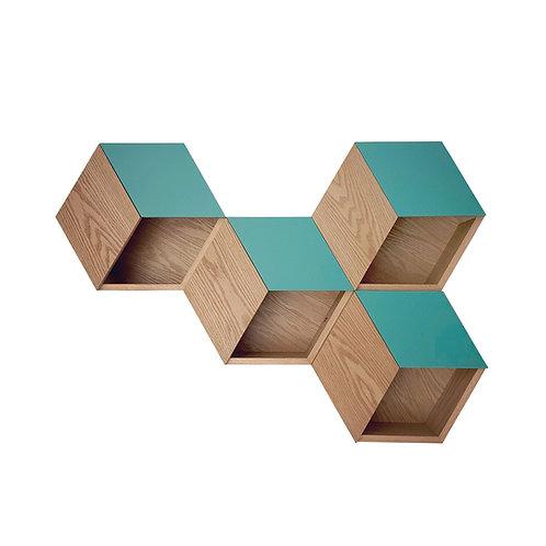 The Cube repisa Hexágono encino (una pieza, une tantas como quieras)