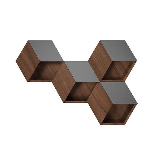 The Cube repisa Hexágono nogal (una pieza, une tantas como quieras)