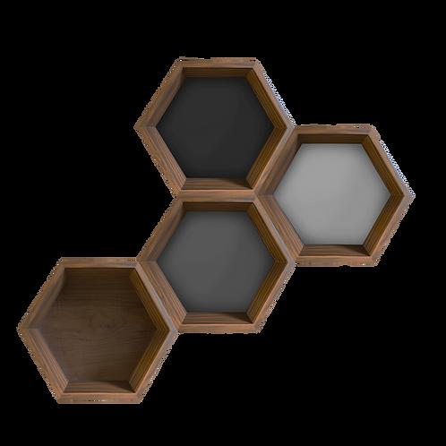 The Hive Repisa Hexágono nogal (una pieza)