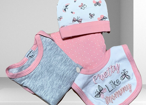 סט בגדים לתינוקת - דגם פרפרים
