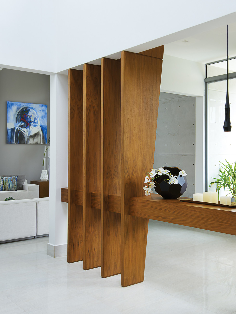Wood accents in ultra contemporary home