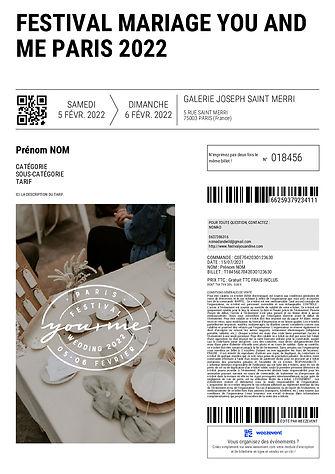 Billetterie - Festival Mariage You and Me - 5+6 Fevrier 2022 - Paris