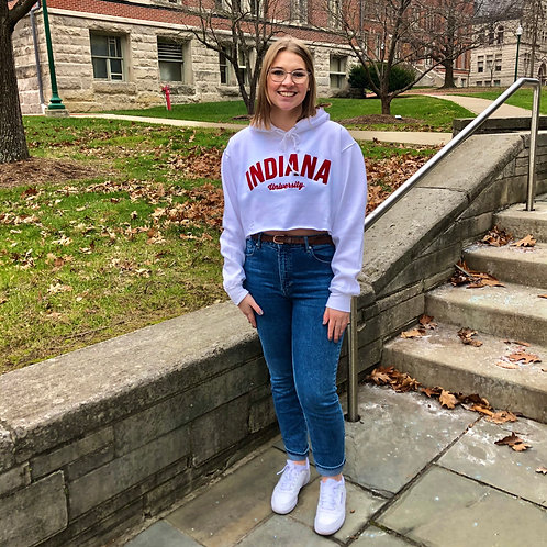 Cropped Embroidered Indiana University Hoodie