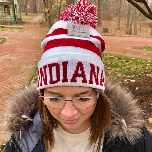 Striped Indiana Hoosiers Winter Hat with Pom-Pom