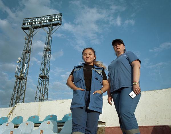 FC Karaganda Blue workers.jpg