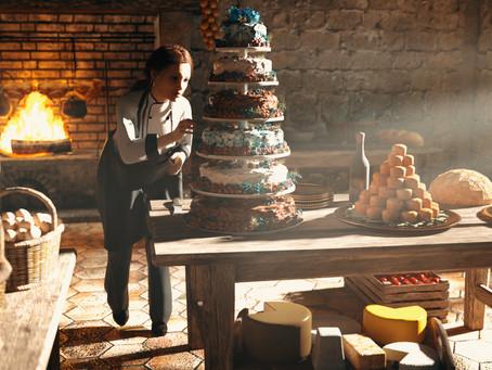Sophiel bakes the wedding cake