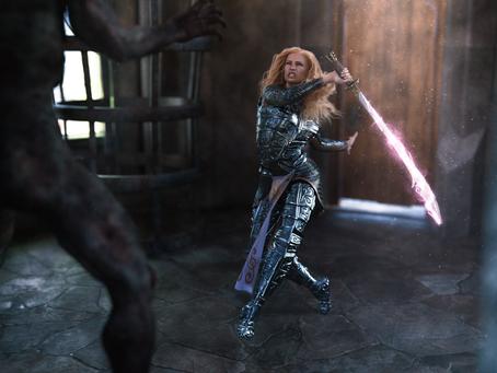 Amnayel the paladin, fighting the demon
