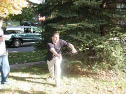 Cory throwing Bocce ball