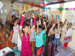 children are singing KKM anthem