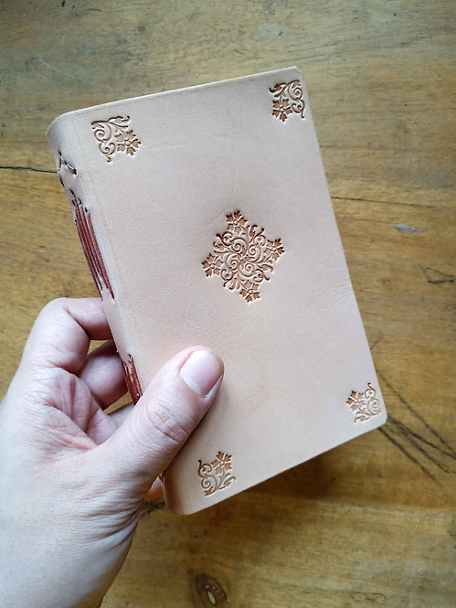Vegetable-Tanned Floral Hand-Embossed Pocket Journal #3