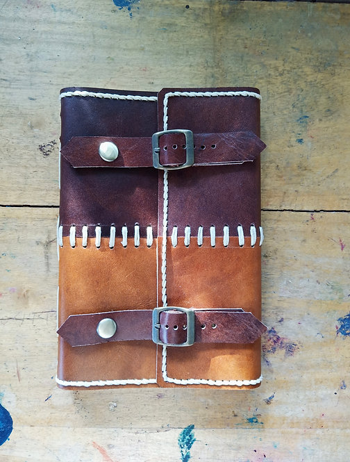 Patchwork Regular Leather Journal with Double Belt Lock #3