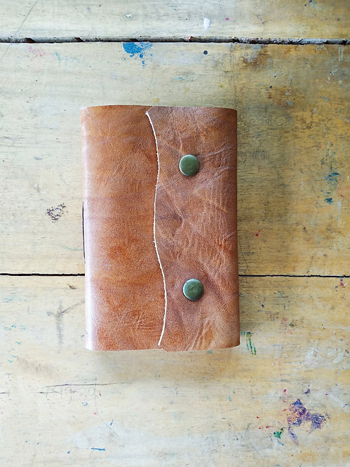 Small Leather Journal with Double Snaps