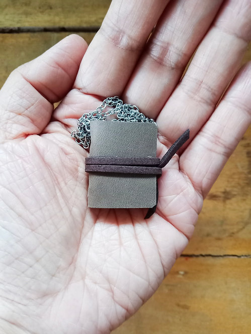 Mini Journal Necklace - Gray