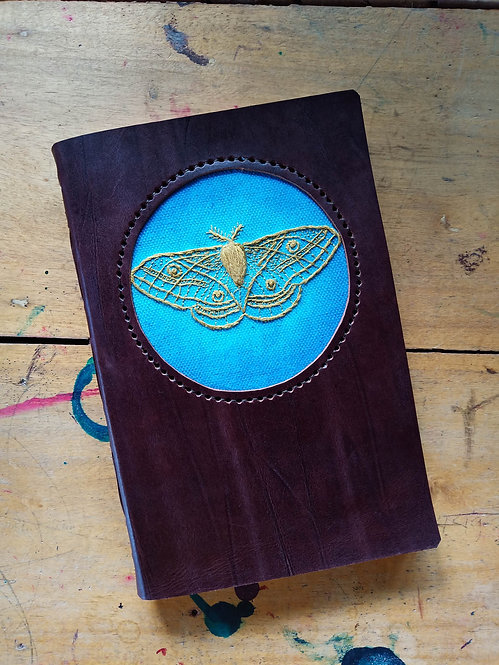 Hand-Embroidered Moth Journal