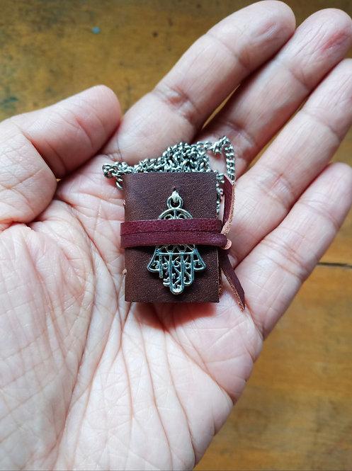 Mini Journal Necklace w/ Hand of Fatima - Brown