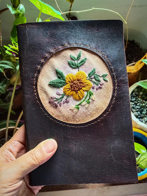 Hand-Embroidered Floral Journal