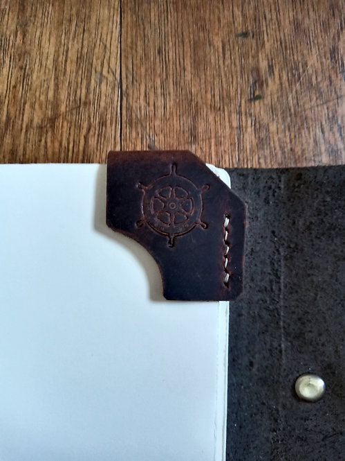 Embossed Corner Bookmark in Dark Brown - Nautical Wheel