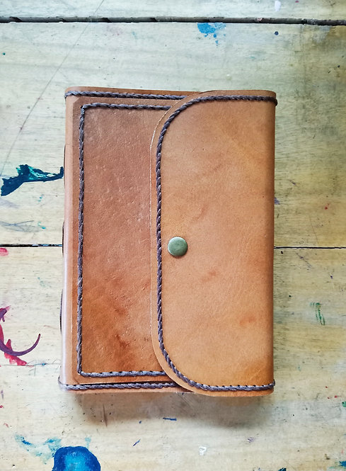 Regular Leather Journal with Front Pocket - Tan
