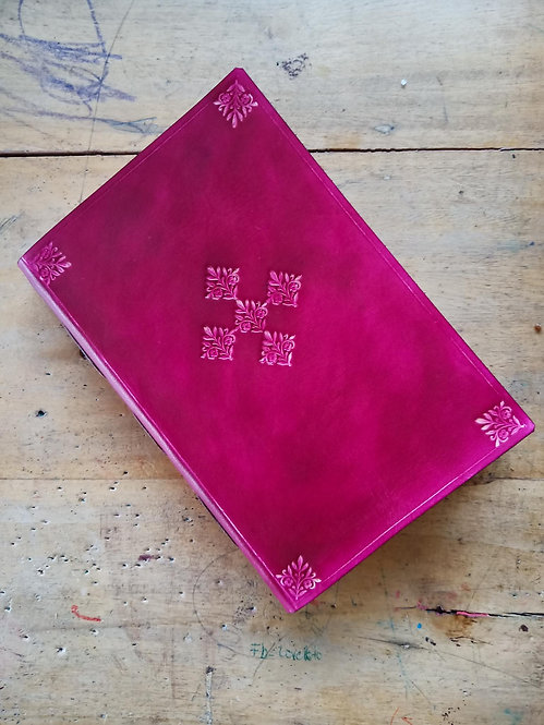 FLORAL-EMBOSSED LEATHER JOURNAL IN OXBLOOD RED