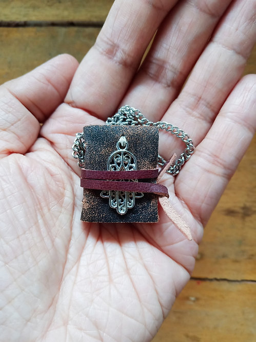 Mini Journal Necklace w/ Hand of Fatima - Distressed Brown