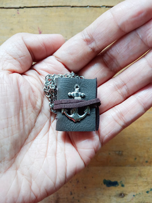 Mini Journal Necklace w/ Anchor - Gray
