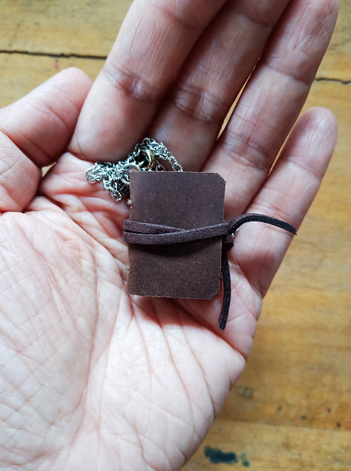 Mini Journal Necklace - Brown