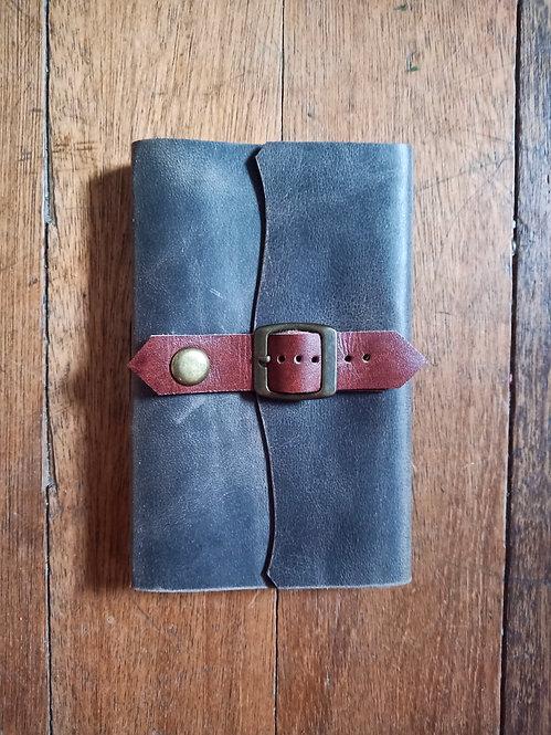 Small Leather Journal w/ Single Belt Lock - Gray
