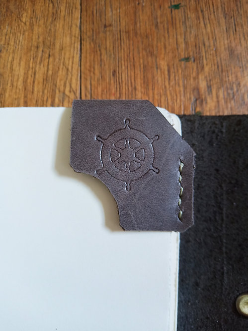 Embossed Corner Bookmark in Gray - Nautical Wheel